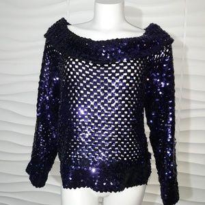 Vintage Sequin Off The Shoulder Knit Top